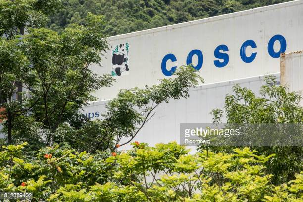 A shipping container by Cosco Shipping Holdings Co stands at the Kwai Tsing Container Terminal in Hong Kong China on Tuesday July 11 2017 Cosco...