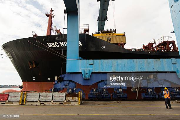 A shipping container is unloaded from the freight ship MSC Nilgun operated by Mediterranean Shipping Co at Mombasa port managed by the Kenya Ports...