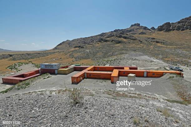 Shipping containers are hooked together to from the newly created BRAUCH training facility at the US Army's Dugway Proving Ground on August 15 2017...