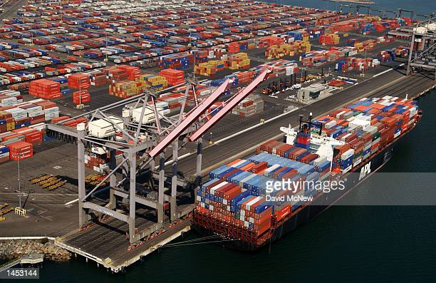 Shipping containers are left stacked in the Port of Los Angeles because of the West Coast lockout of dockworkers by shipping lines on October 2 2002...
