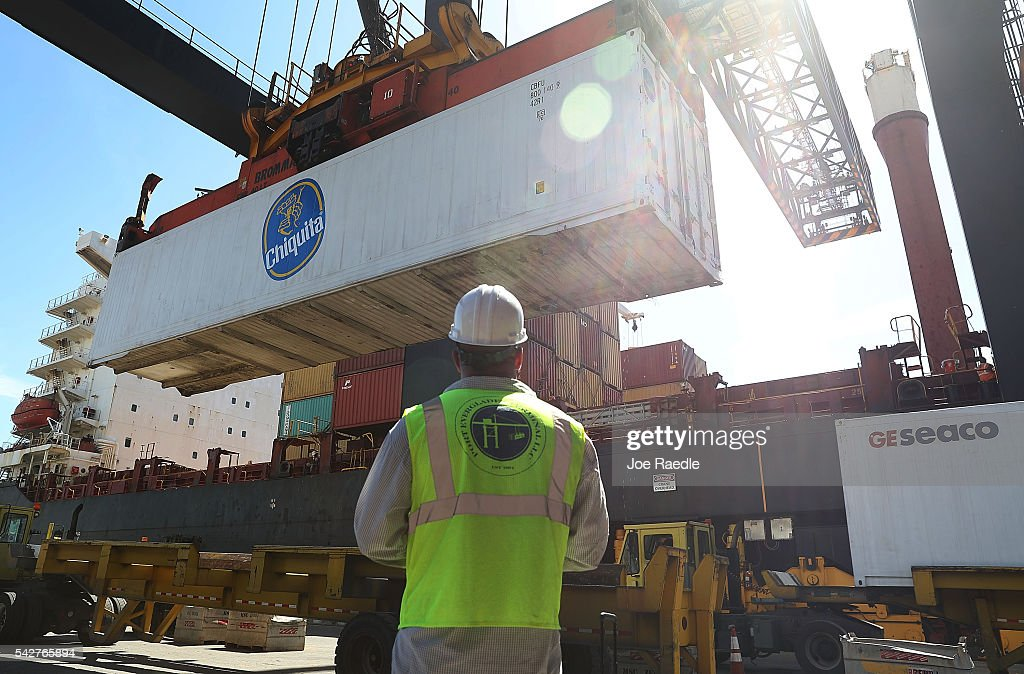 Shipping containers are offloaded from a cargo ship at Port Everglades on June 24, 2016 in Fort Lauderdale, Florida. The fallout from the exit of Britain from the European Union, or 'Brexit', has the potential to upset global trade which includes exports and imports from the United States.