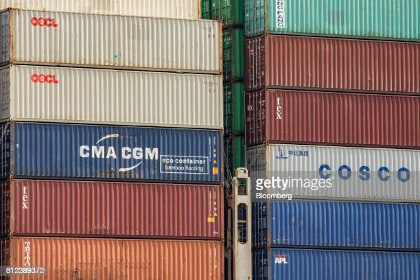 Shipping containers by Orient Overseas Container Line a unit of Orient Overseas International Ltd CMA CGM SA Textainer Group Holdings Ltd Triton...