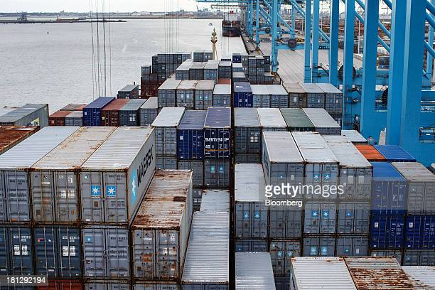 Shipping containers sit on the deck of the vessel Maersk Seoul operated by AP MoellerMaersk A/S at the APM Terminal in the Port of Rotterdam in...
