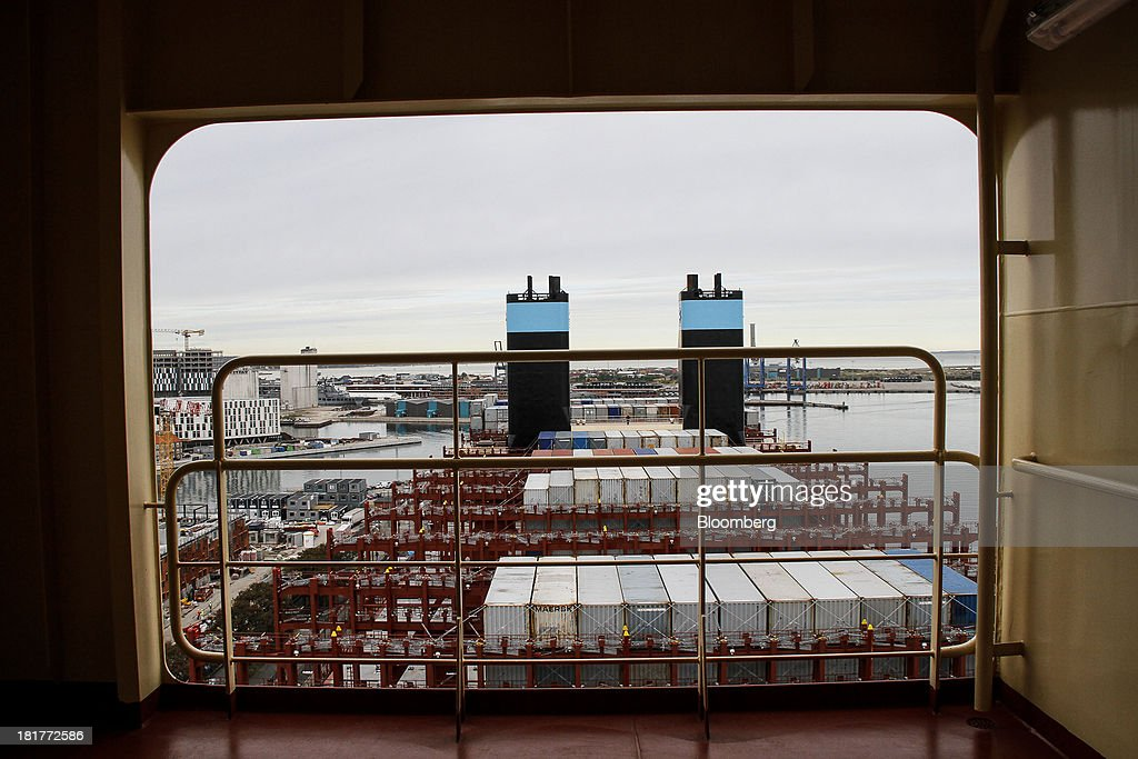 Shipping containers stand aboard the Majestic Maersk Triple E class ship, one of the world's largest vessels, operated by A.P. Moeller-Maersk A/S at Langelinie pier in Copenhagen, Denmark, on Tuesday, Sept. 24, 2013. A.P. Moeller-Maersk A/S says it won't cut its investment in developing markets from Asia to South America even as creditors turn their backs. Photographer: Freya Ingrid Morales/Bloomberg via Getty Images