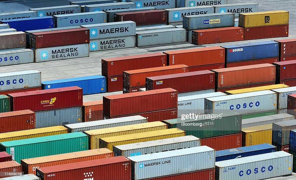 Shipping containers stand on the dockside at Thessaloniki Port, operated by Thessaloniki Port Authority SA, in Thessaloniki, Greece, on Thursday, July 18, 2013. Russian Railways is interested in buying Thessaloniki Port and Greek rail operator Trainose SA as one single unit, newspaper Real News reported, citing an interview with the Russian company's CEO Vladimir Yakunin. Photographer: Oliver Bunic/Bloomberg via Getty Images