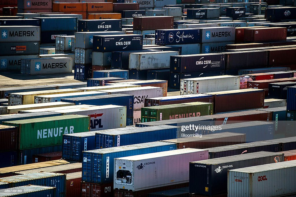 Shipping containers stand on the quayside at the commercial port in Barcelona, Spain, on Wednesday, Jan. 29, 2014. Government bonds in Europe's most-indebted countries rallied in the first three weeks of the year on signs the debt crisis that pushed those nations' borrowing costs to euro-era records had abated. Photographer: David Ramos/Bloomberg via Getty Images