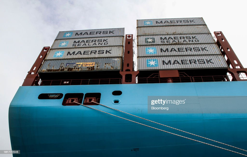Shipping containers stand on the stern of the Majestic Maersk Triple E class ship, one of the world's largest vessels, operated by A.P. Moeller-Maersk A/S at Langelinie pier in Copenhagen, Denmark, on Tuesday, Sept. 24, 2013. A.P. Moeller-Maersk A/S says it won't cut its investment in developing markets from Asia to South America even as creditors turn their backs. Photographer: Freya Ingrid Morales/Bloomberg via Getty Images