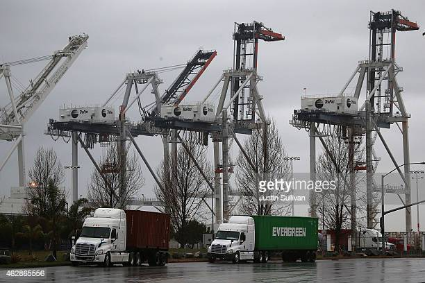 Shipping cranes sit idle at the Port of Oakland on February 6 2015 in Oakland California Pacific Maritime Association announced today that terminal...