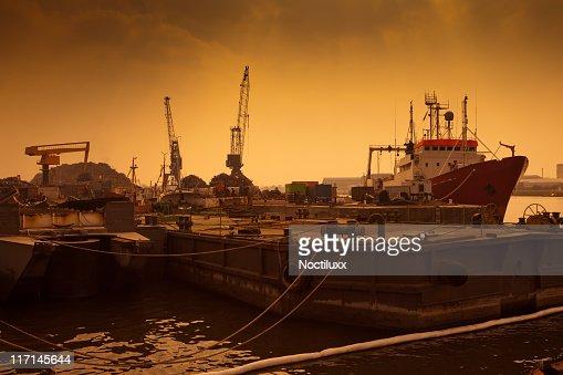 Shipping docks at dusk : Stock Photo