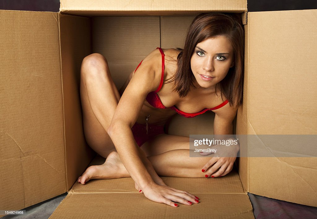 Shipping Herself to Him; Young Woman in Cardboard Box