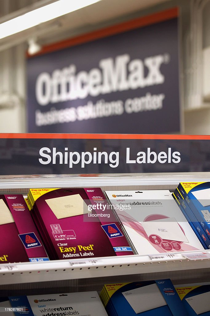 Shipping labels are displayed for sale inside the new OfficeMax Inc. Business Solutions Center in Chicago, Illinois, U.S., on Tuesday, Aug. 27, 2013. The OfficeMax Business Solutions Center provides local businesses with services including designed marketing, web, document, IT and shipping service. Photographer: Tim Boyle/Bloomberg via Getty Images
