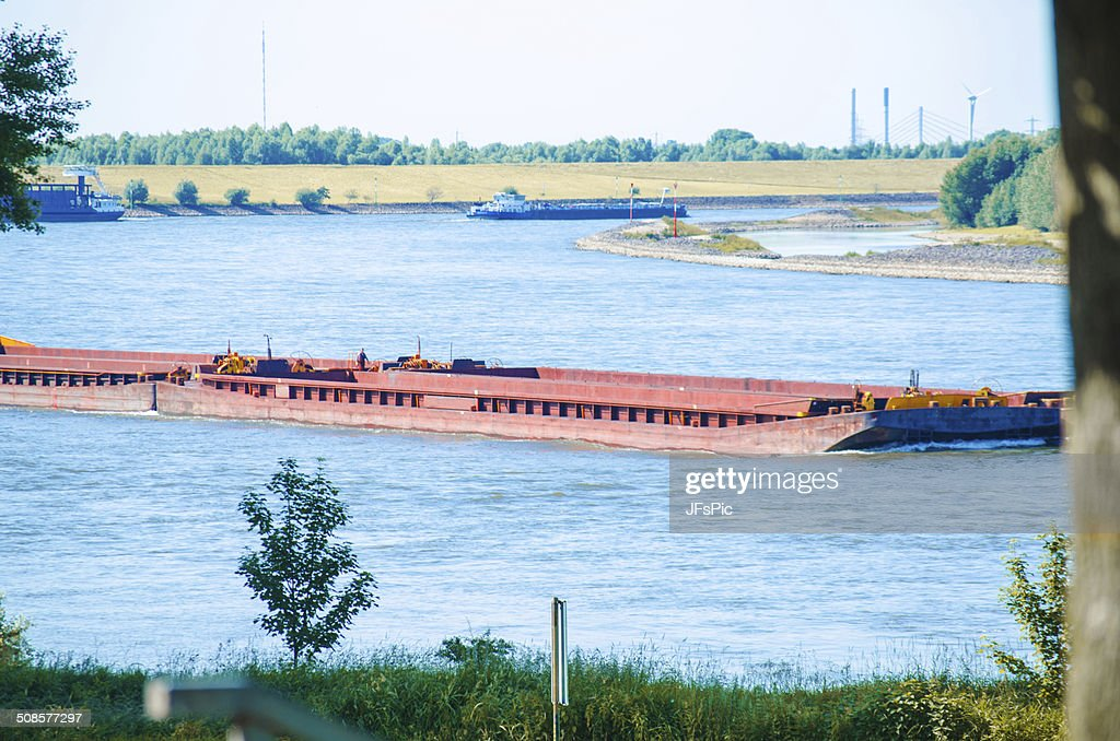 Shipping with barge on river : Stock Photo