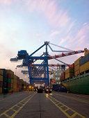 Shipping yard at dusk