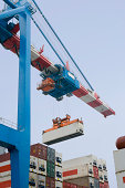 Shipping yard machinery in use