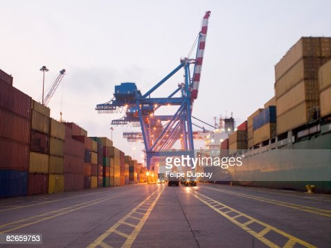 Shipping yard traffic lanes : Stock Photo