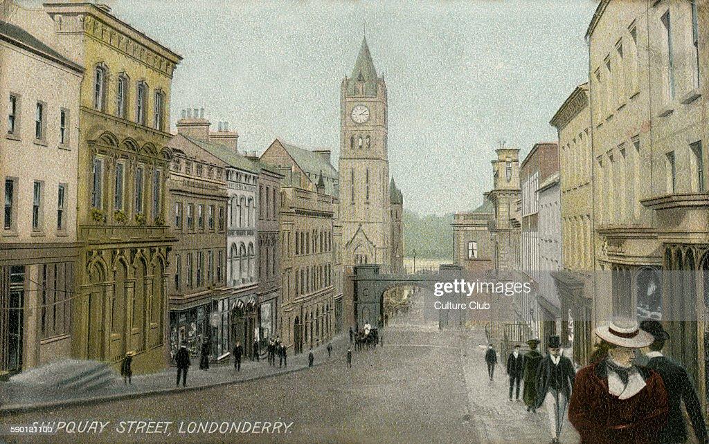 Shipquay Street Londonderry Northern Ireland Postcard 1909