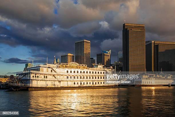 Ships along Embarcadero, San Francisco, California