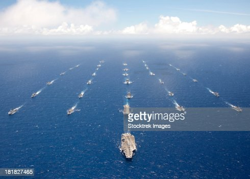 Ships and submarines participating in the Rim of the Pacific exercise.