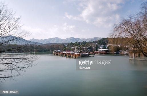 Ships At Port In Dock of Maojiabu village,the West Lake,Hangzhou : Stock Photo