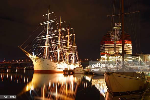 Ships at the Gothenburg harbor at night