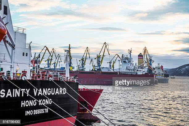 Ships by berths in the port of Murmansk  .