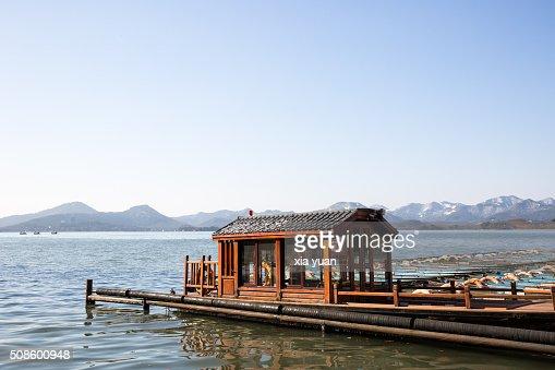 Ships docked on the West Lake,Hangzhou,Zhejiang,China : Foto de stock