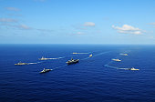 Pacific Ocean, April 10, 2011 - The aircraft carrier USS Ronald Reagan (CVN-76) and ships from the Ronald Reagan Carrier Strike Group and the Indian Navy transit the Pacific Ocean during Exercise Mala