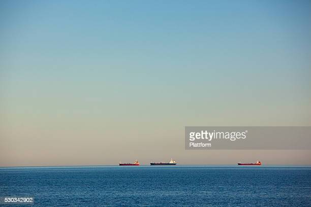 Ships on horizon at evening