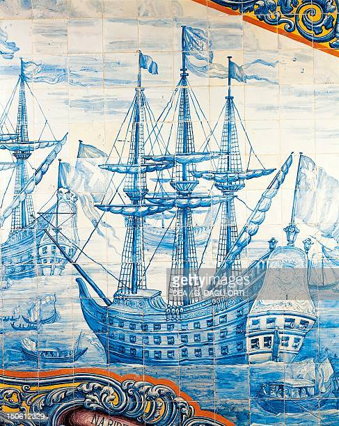 Ships sailing on the Tagus detail from the celebrations in Lisbon for the marriage of Catherine of Braganza and Charles II of England April 23 in...