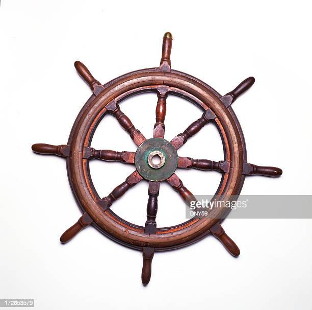 Ship's wheel isolated on white background