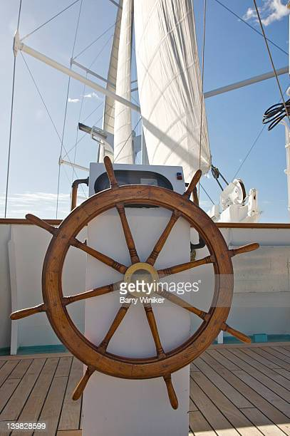 Ship's wheel on deck aboard Wind Spirit of Windstar Cruises