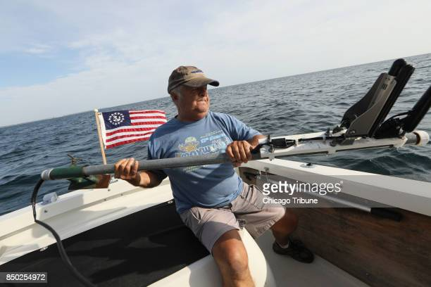 Shipwreck enthusiast Steve Radovan of Sheboygan Wis stows a sonar transducer on his boat Wednesday Aug 9 2017 in Lake Michigan An avid underwater...