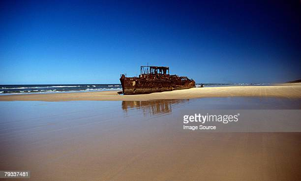 Shipwreck on a beach