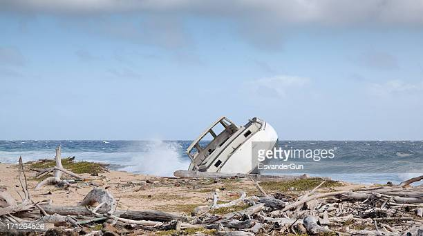 shipwreck on a tropical island