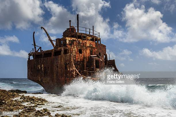 Shipwreck on coast of Little Curacao, Caribbean