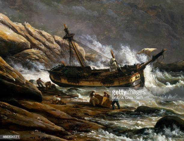 Shipwreck on the Norwegian coast by Johan Christian Clausen Dahl Detail Norway 19th century