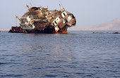 Ship wreck on coral reef in Red Sea