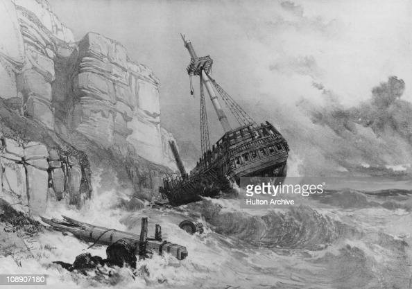 A shipwreck runs aground on the Sussex coast November 1829