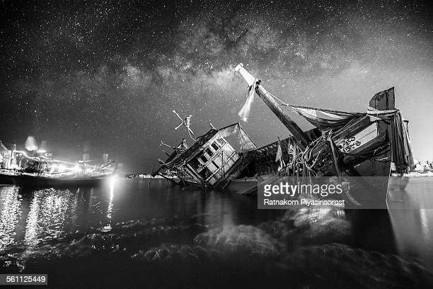 Shipwreck with Milky Way