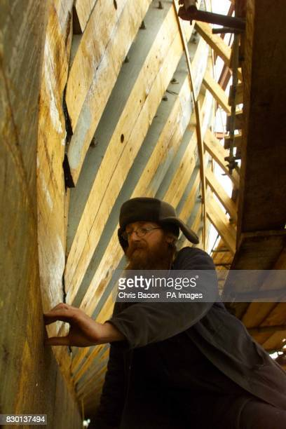 Shipwright Peter O'Regan works on the fullsize replica of the Irish emigrant ship the Jeanie Johnson under construction at Blennerville near Tralee...