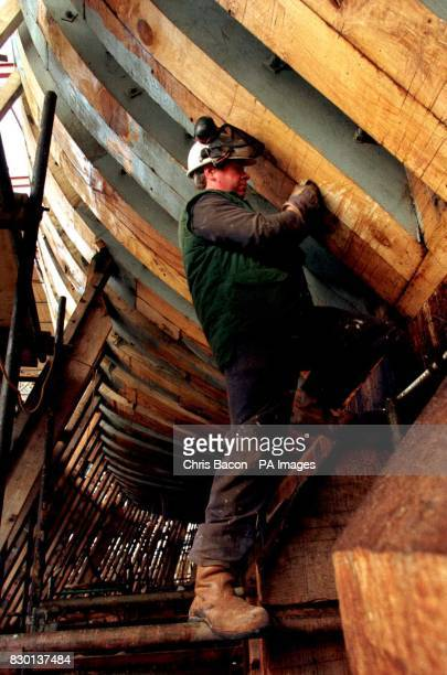 Shipwright Reginald Smith works on the fullsize replica of the Irish emigrant ship the Jeanie Johnson under construction at Blennerville near Tralee...