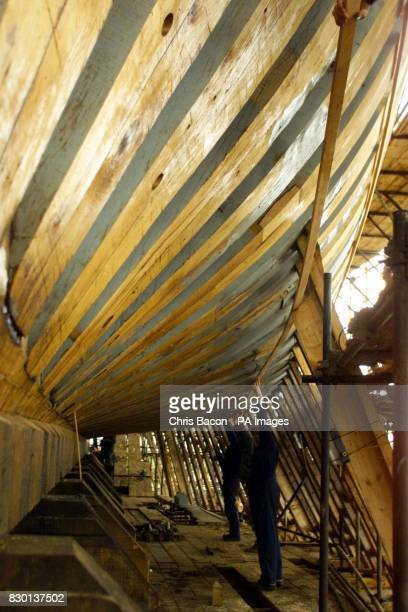 Shipwrights work on the fullsize replica of the Irish emigrant ship the Jeanie Johnson under construction at Blennerville near Tralee Ireland The 150...