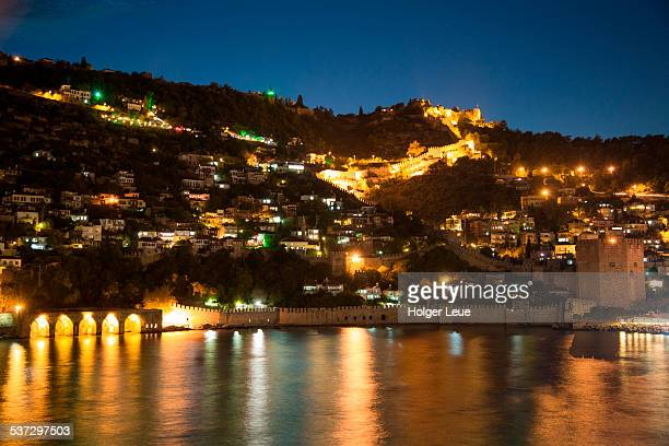 Shipyard, Kizil Kule and Alanya Castle at night