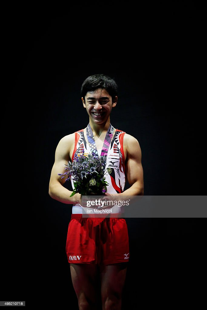Shirai Kenzo of Japan poses with his gold medal from the floor during day nine of World Artistic Gymnastics Championships at The SSE Hydro on October...