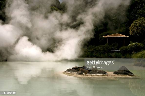 Shiraike Jigoku or 'white pond hell' one of the hot springs at Beppu that are for viewing only the water is too hot for bathing