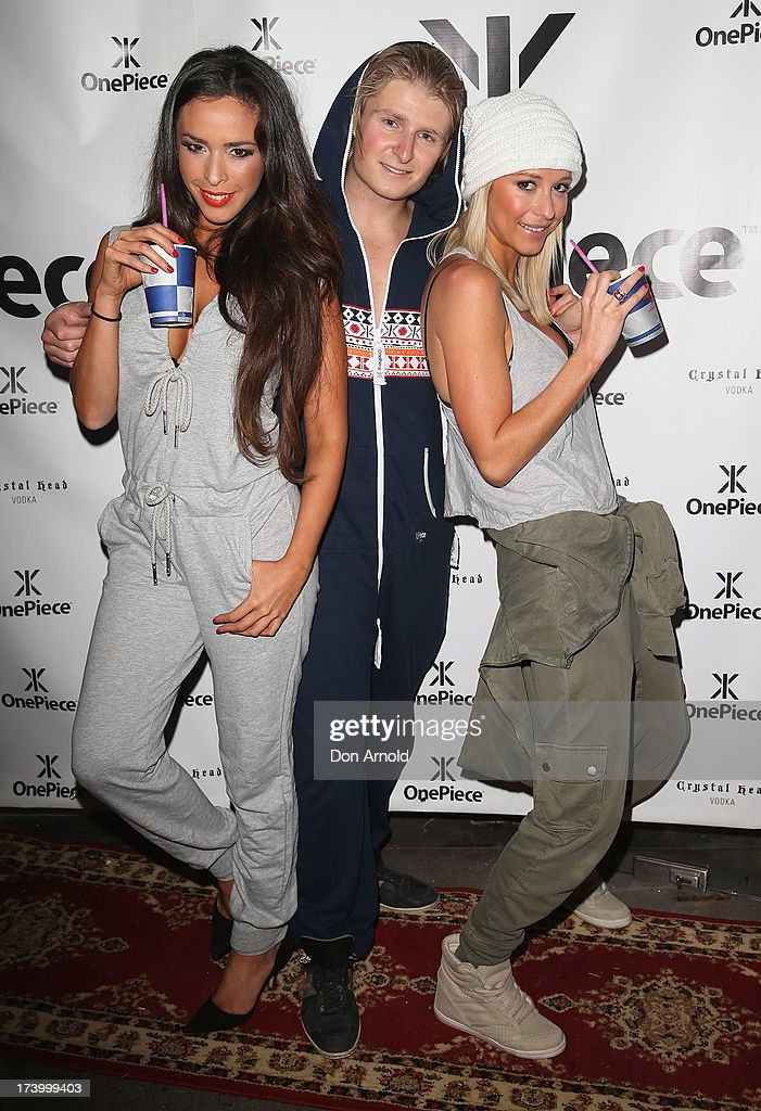 Shiralee Coleman, Ollie Fjedborg and Johanna Josephson pose during the OnePiece onsie Australian launch at the Bucket List at the Bondi Beach on July 19, 2013 in Sydney, Australia.