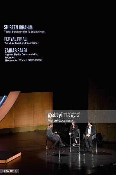 Shireen Ibrahim Feryal Pirali and Zainab Salbi speak during the Eighth Annual Women In The World Summit at Lincoln Center for the Performing Arts on...