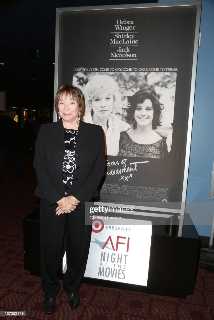 Shirely MacLaine presenting 'Terms of Endearment' at Target Presents AFI's Night at the Movies at ArcLight Cinemas on April 24, 2013 in Hollywood, California.
