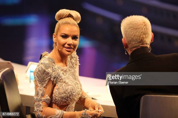 Shirin David and HP Baxxter during the fourth event show and semi finals of the tv competition 'Deutschland sucht den Superstar' at Coloneum on April...