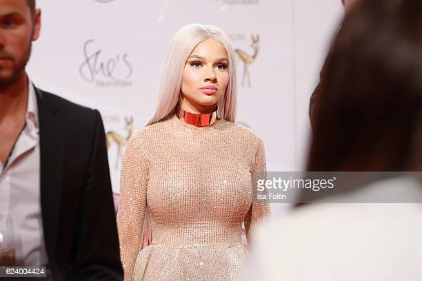 Shirin David poses with award at the Bambi Awards 2016 winners board at Stage Theater on November 17 2016 in Berlin Germany